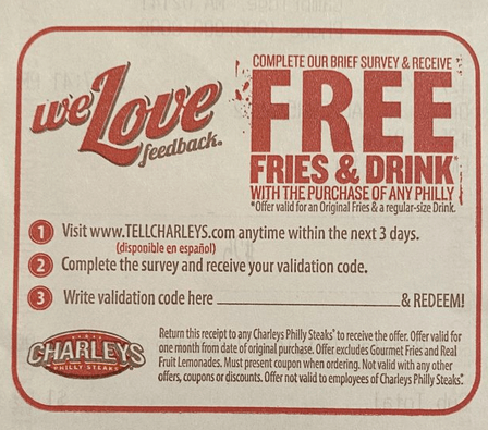 Charleys Survey Validation coupon