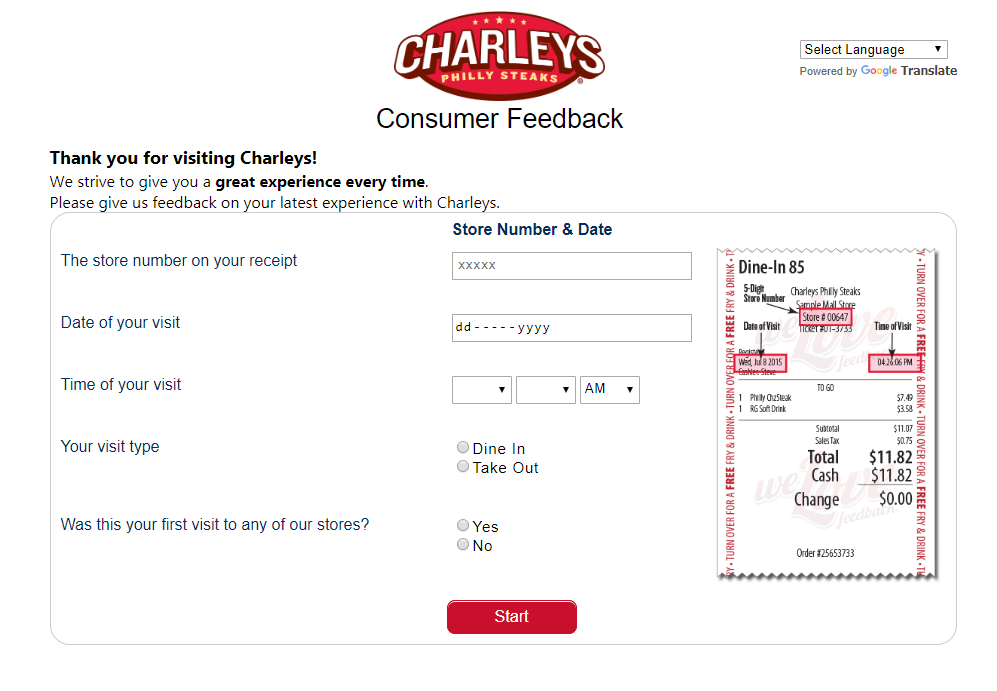 official Charleys Survey website